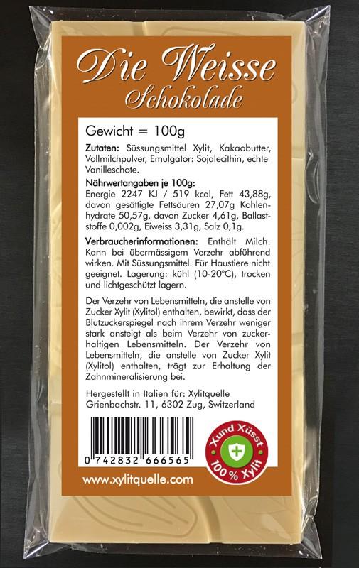 Xylit Schokolade DIE WEISSE bestellen