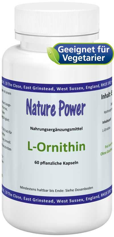 L-Ornithin 500mg, 60 Kapseln - vegetarisch & frei von Zusatzstoffen hier bestellen