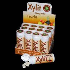 Xylit Kaugummi FRUCHTIG - 100% Birkenzucker Xylit, 30 Stk Dose